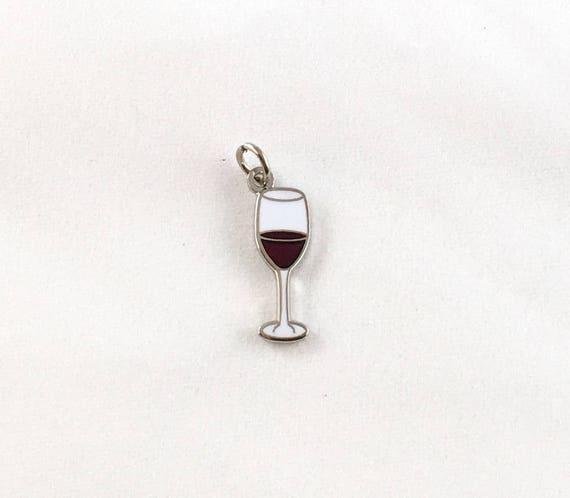 """Wine Glass 1/2"""" Enamel Charm"""