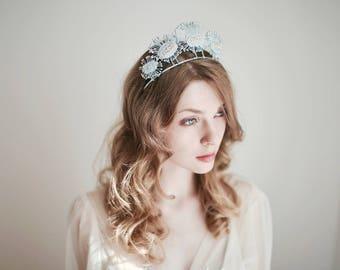 Bridal Silver Crown, Silver Headband, Star Headband, Constellation Headpiece, Celestial Hair Jewelry, Bridal Headband, Rhinestone Headband
