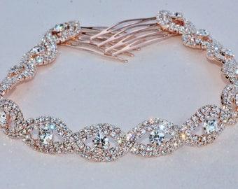 GORGEOUS Rose Gold Rhinestone Hair Chain,Bridal Back Headpiece,Clear Crystal Rhinestone,Delicate Pair Hair Combs,Weddings,Boho,Headpiece