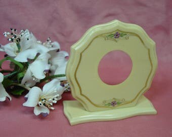 "Antique Vintage Celluloid Picture Frame, Sweet Round 4 3/8 x 4 1/4"" Painted Flower, Gold Trim"