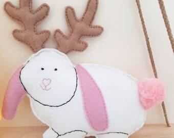 Jackalope Toy/Decor - Soft Toy, Kids Room Decor, Nursery Decor, Plushies!