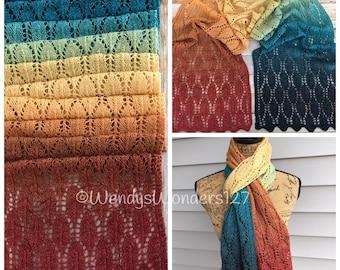 Hand Knit Scarf, Gradient Scarf, Knit Scarf, Knit Lace Scarf, Hand Knit, Lace Scarf, Handmade Gifts, Gifts for her, SWMerino