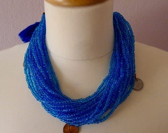 Chiapas BLUE trade bead necklace - adjustable multi-strand - coins - yarn closure Mexican traditional boho Frida Kahlo -