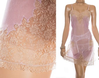 Romantic incredibly sheer sexy lilac self patterned nylon and delicate caramel lace and smocking detail 1960's vintage full slip - 3959