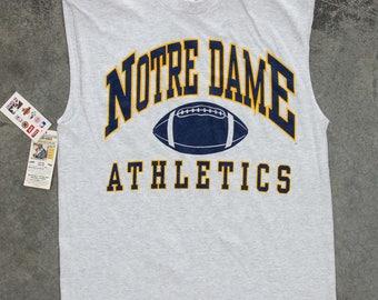 Notre Dame Athletics T-Shirt 1990s Sleeveless Heather Grey Football Vintage T Shirt XL 7W