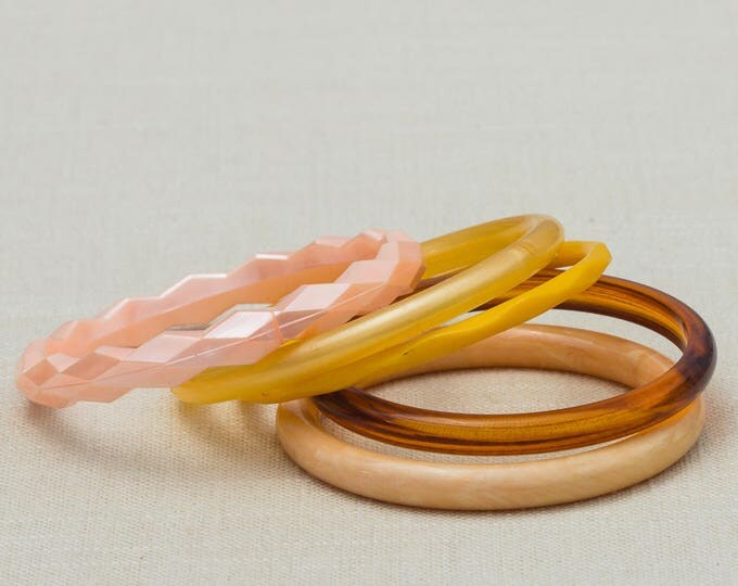 Vintage Neutral Tones Pink Peach Brown Bracelet Bangle Set Stackable Costume Jewelry Plastic Cuff 7OO