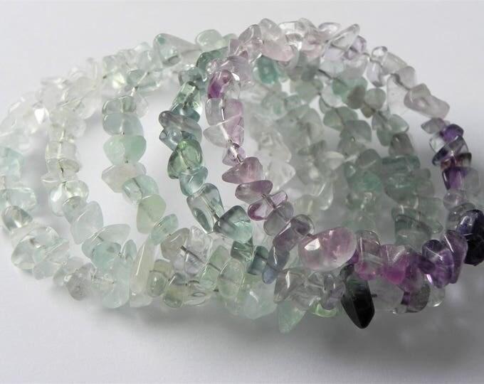Ombre design fluorite chip gemstone memory wire wrap bracelet