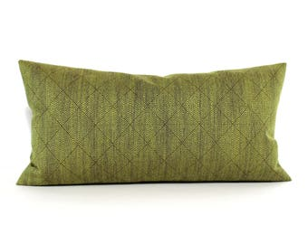 Lumbar Pillow Cover 8x16 Petite Lumbar Green Pillow Cover Diamond Upholstery Fabric Oblong Decorative Pillow Throw Pillow Cover