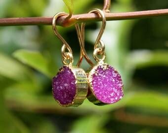 Pink Druzy Earrings - Crystal Druzy - Gold Edged Druzy - 14K Gold Filled Earrings - Fuchsia Hot Pink Dainty Earrings - Two Feathers Jewelry