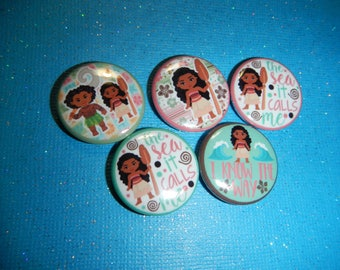15  Moana Decoden Center Embellishment craft Flat Back Buttons
