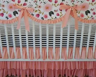 girl baby bedding crib bedding floral bedding bumperless bedding scalloped rail cover
