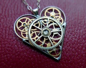 "Clockwork Heart Necklace ""Swinburne"" Elegant Steampunk Heart Pendant Industrial Organic Mechanical Gear Love Gift Wife Girlfriend Present"