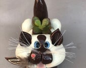Siamese cat planter, cat sculpture, cat figurine, hand made cats, hand sculpted cats original by Pencepets, Pence Animal Sculptures