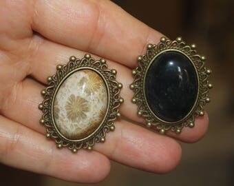 adjustable ring, fussil ring, filigree ring, agate ring, natural stone ring, oval ring, black stone ring