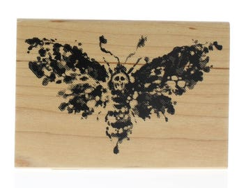 Inkadinkado Halloween Death Head Moth Butterfly Inkblot Wooden Rubber Stamp