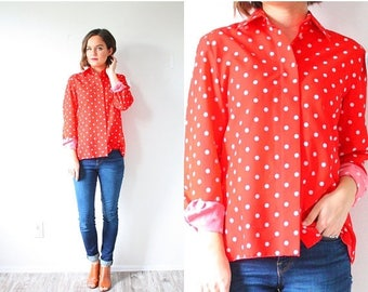 20% OFF JULY 4th SALE Vintage long sleeve red polka dot shirt // retro polka dot blouse // small summer polka dot top // boho retro blouse 6