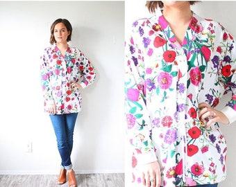 20% OFF JULY 4th SALE Vintage boho long sleeve floral blouse // boho garden floral summer long sleeve sweatshirt // floral boho top boho shi