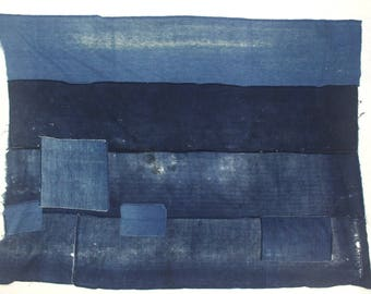 Antique Japanese Boro. Hand Woven Indigo Cotton Fabric. Hand Stitched and Patched Folk Textile.  (Ref: 1800)