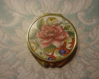 Vintage Pill Box, Gold Tone with Roses, 3 Compartment Insert, 2 1/2""