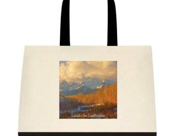 The Sneffles Range - Canvas Tote - San Juan Mountains - Fall in Colorado - Mount Sneffles - San Juan Mountains - Aspen Trees - Quakies