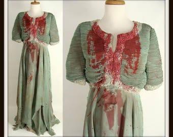 VAMPIRE QUEEN Zombie Halloween Costume. Custom Made. Zombie Prom Costume. Vampire Costume. Bloody Elegant Green Evening Gown. Size 14 L