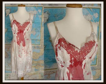 Bloody Zombie Costume. Sexy Zombie Dress. OOAK Bloody White Full Slip. ZOMBIE VAMPIRE. Scary Halloween Costume. Realistic. Womens Size L 38