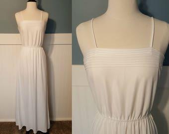 Vintage 70s White Slip Sundress Night Gown sz 2