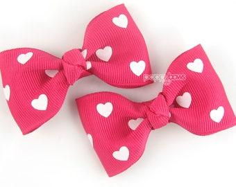 Bright pink hair bows, heart hair bows, girls hair clips, shocking pink pigtail bows, baby hair bows, small hair bows, cute hair bows pair
