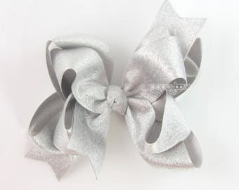 "Silver Hair Bow, 4"" silver hair bows, girls hair bow, metallic hair bows, Christmas, baby hair bow, big girl hair bow, large, double layer"