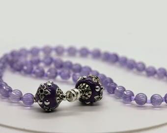 Amethyst Necklace, Gemstone Necklace, Amethyst Jewelry, Purple Necklace, Two Purple Beads, Dainty Necklace, Handmade Necklace, Jewelry Gift