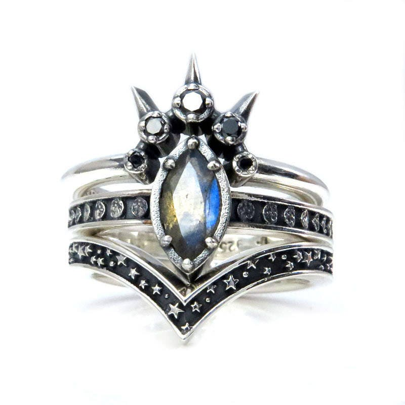 ... Set   Celestial Gothic Wedding Rings   Sterling Silver. Gallery Photo  Gallery Photo ...