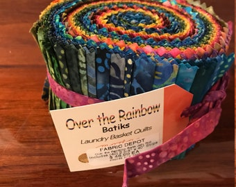 SPRING SALE - Over the Rainbow Batik Strips by Laundry Basket Quilts for Moda - 38 Strips - Jelly Roll