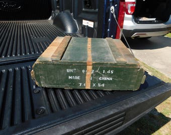 Vintage Vietnam War Era OD Green Wood Empty Ammo Crate