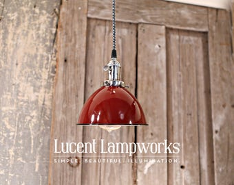 Red Dome Industrial Pendant Lighting – 7 Inch