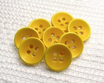 "Sunflower Cups: 1/2"" (13mm) Yellow Buttons - Set of 8 Vintage New Old Stock Matching Buttons"