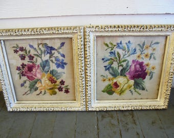Vintage Framed Glass Needlepoint Pictures Floral / Flowers Lot Antique Shabby Chic Cottage Chic Wedding Romantic Wall Hangings
