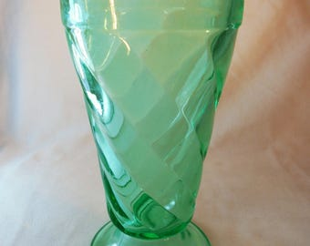 "Vintage Antique Rare Green ""Rena"" Depression Glass Malt Milkshake Drinking 1933 Paden City GREEN GREENERY Mid Century Art Deco"