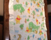 vintage WINNIE The POOH Baby, Crib Blanket, Satin Border, 1970-80s, EUC