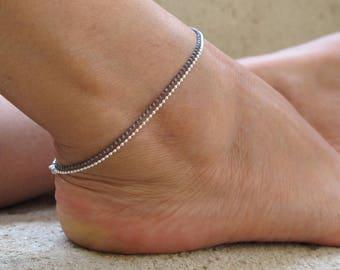 Sterling silver anklet set, 2 anklet bracelets, Ball chain ankle bracelets