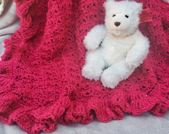 Dark Pink Ruffled Baby Blanket, Baby Girl