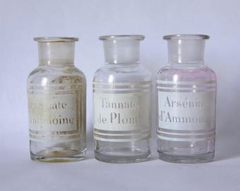 Antique French Glass Apothecary Jar Pharmacy Bottle. Mouth blown Antique Glass. Etched Glass Enamel Labels, Set of 3 Curiosities cabinet.