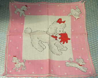 Cute 1950s Pink and White Cotton Poodle Handkerchief