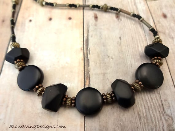 Bohemian Matte Black Onyx Nuggets Necklace
