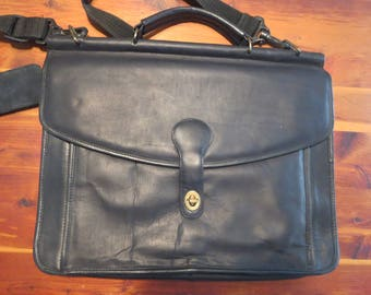 Vintage Colombian Leather Briefcase Black