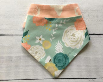 FREE US SHIPPING Bandana Bibs (set of 2) Summer Blooms on Mint Peonies Watercolor Floral Blush Pink + yellow + teal and Blush Bucks