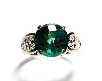 "Green topaz, green topaz ring, green solitaire ring  , anniversary,  birthstone ring, s 6 1/2  ""Island Green"""