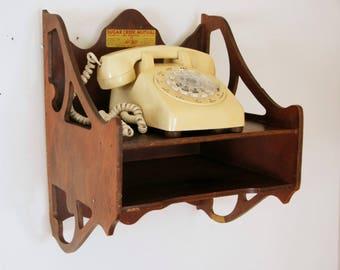 Vintage Telephone Shelf, Wood Wall Shelf, Veneer Wood Cabinet, Phone Book Storage, Floating Shelf, Farmhouse Decor