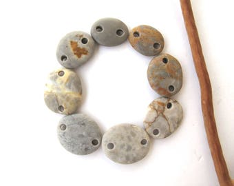 Beach Stone Beads Double Drilled Mediterranean Stones Natural Stone Pebble Beads Rock Links DIY Jewelry Connectors GRAY LINKS 15-19 mm