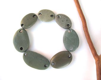 Beads Rock Mediterranean Beach Stone Pebble Jewelry Beads River Rock Connectors Small GREEN LINKS 18-28 mm