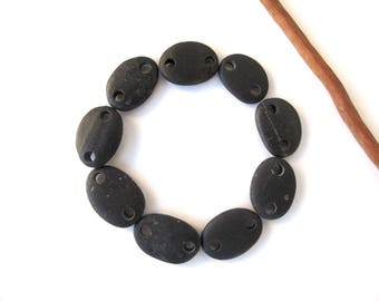 Rock Connectors Beach Stone Beads Mediterranean River Stone River Rock Links Diy Jewelry Drilled Natural Stones SMALL BLACK LINKS 16-18 mm